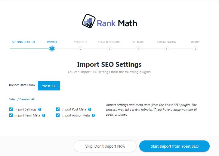Rank Math importowanie ustawień z Yoast