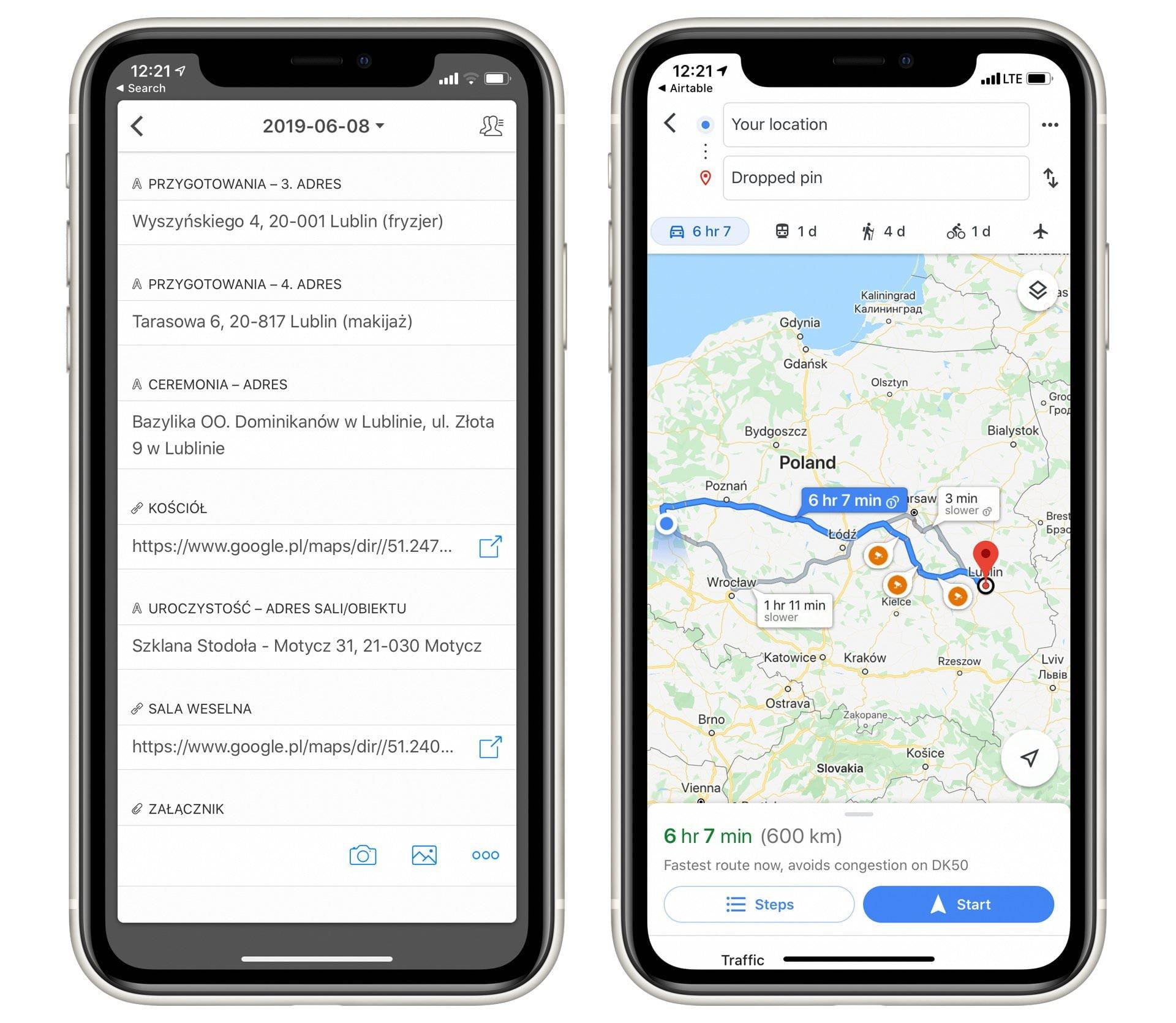 google maps na telefonie