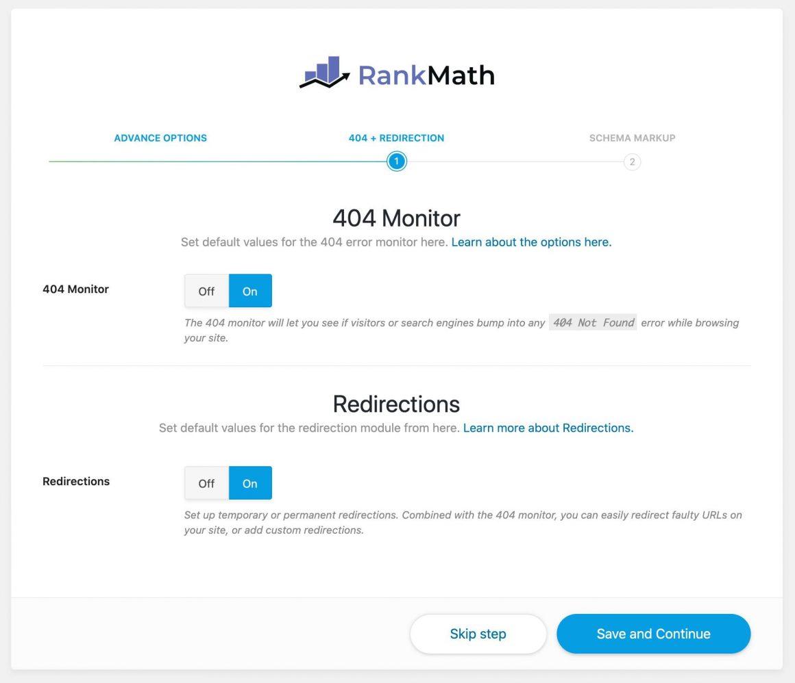 Rank Math przekierowania i monitor 404