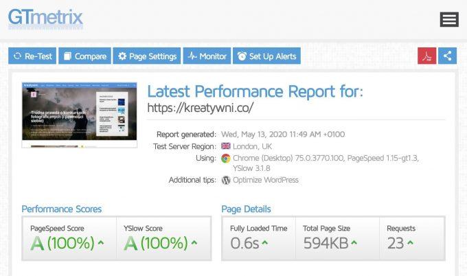 WordPress optymalizacja z LiteSpeed Cache - Test WordPress z wtyczką LiteSpeed Cache na GTMetrix A/A (100%/100%)