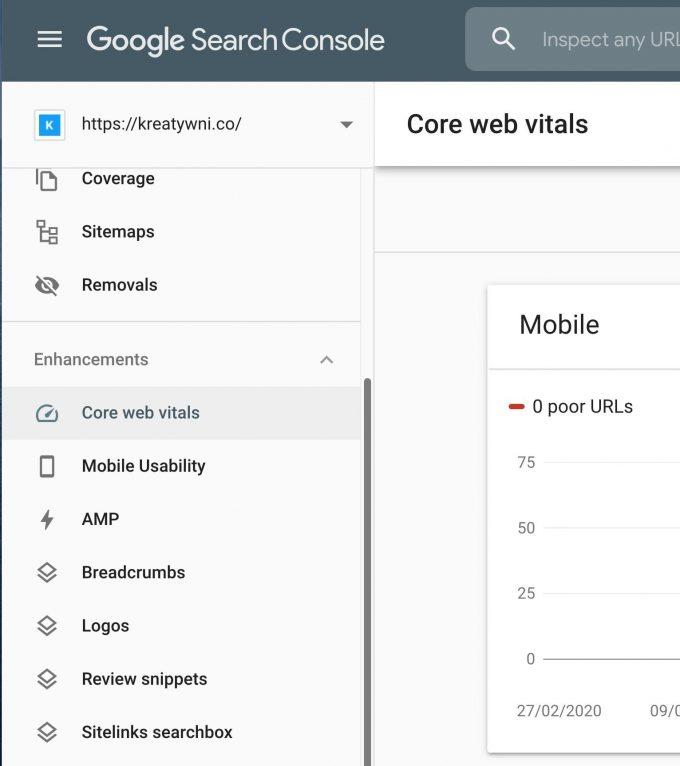 core web vitals search console