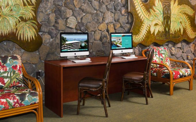 Kona Seaside Hotel Lobby Computer
