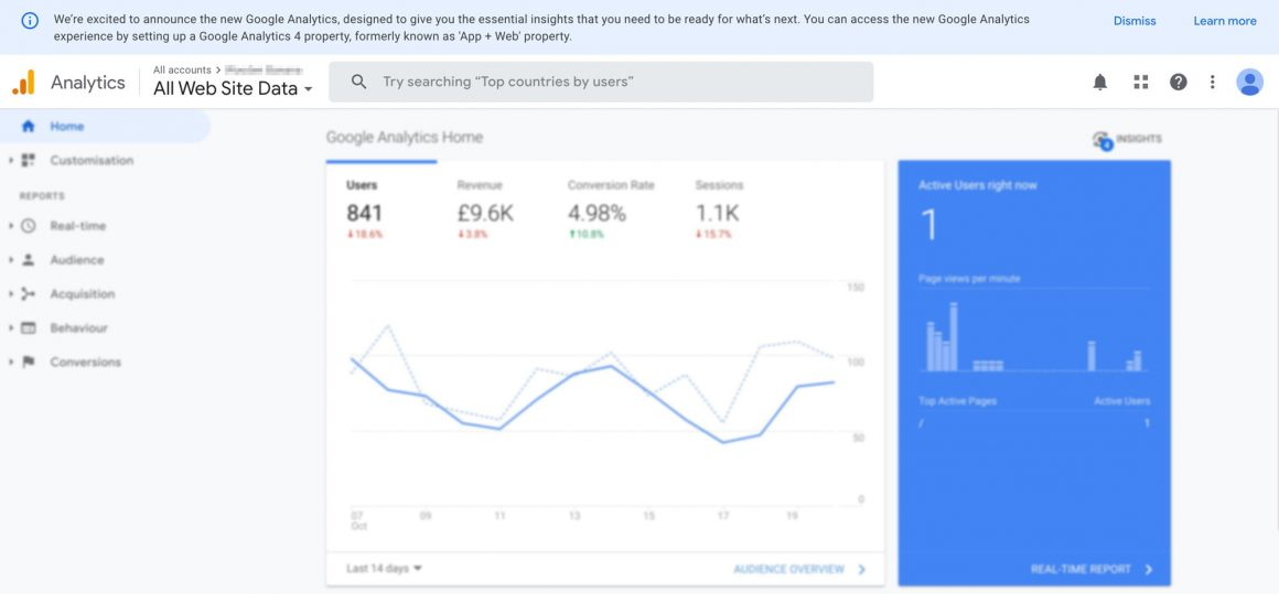 google analytics v4 info box