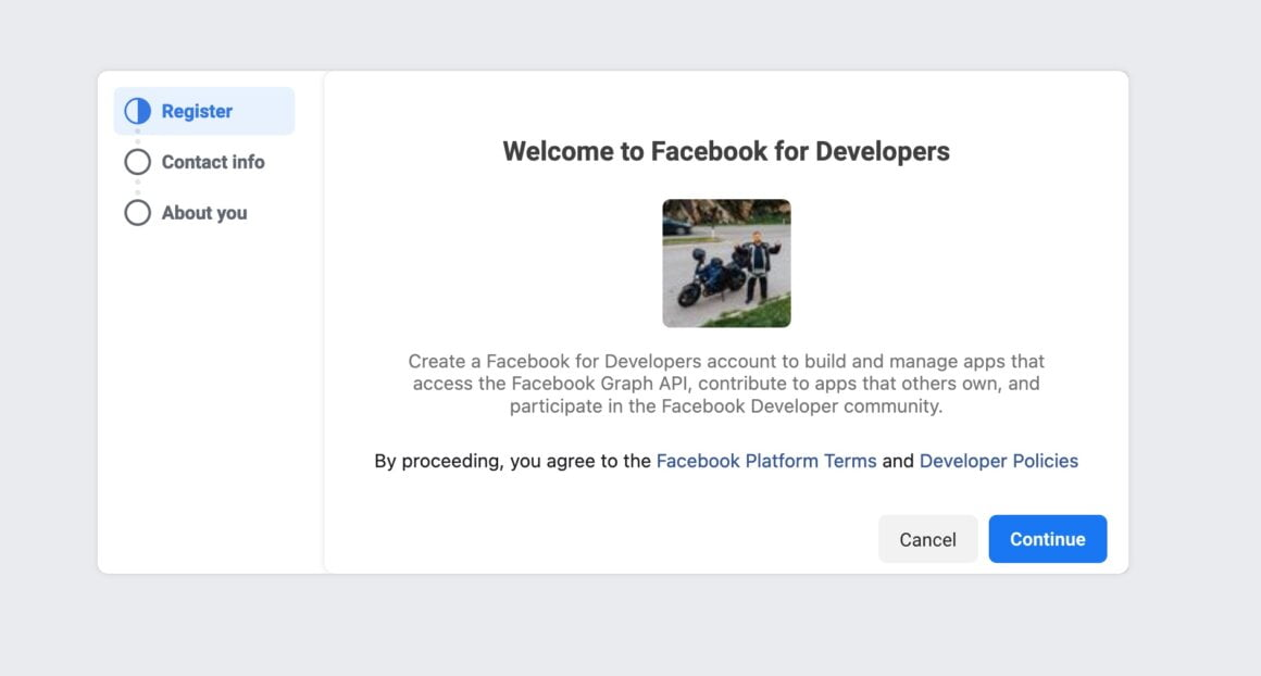 rejestracja facebook developer